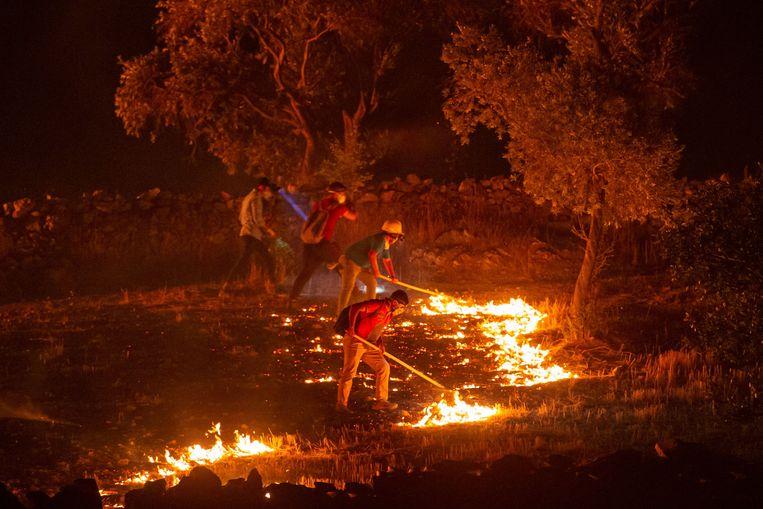 Mensen proberen het vuur te bestrijden in Milas in de provincie Mugla. Beeld AFP