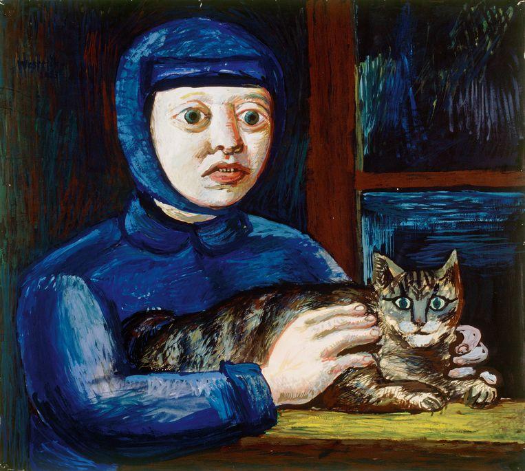 Co Westerik, Kind in het blauw met kat, 1953 Beeld Rijksdienst Cultureel Erfgoed