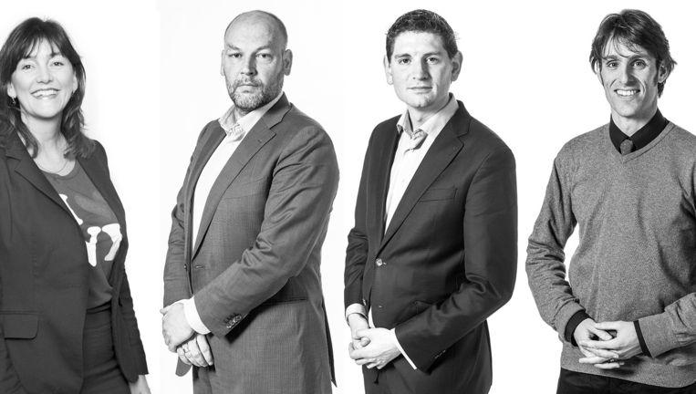 Vlnr: Marja Ruigrok (VVD), Rutger Groot Wassink (GroenLinks), Jan Paternotte (D66), Daniël Peters (SP) Beeld Bewerking Het Parool