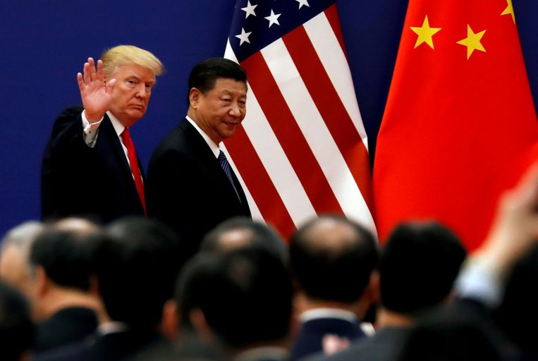 Presidenten Donald Trump (VS) en Xi Jinping (China). 'Beide partijen zullen een deal sluiten in de handelsoorlog, ze hebben het hard nodig.' Beeld REUTERS