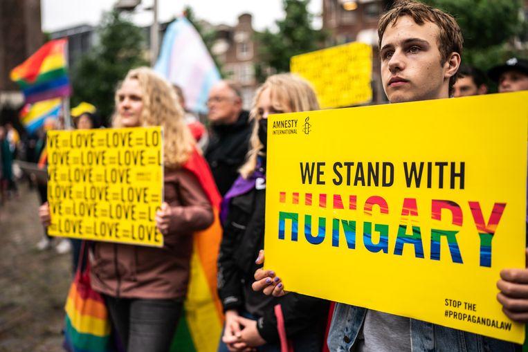 Protest tegen Anti-lhbti-wet Hongarije bij het Homomonument in Amsterdam. Beeld Joris van Gennip