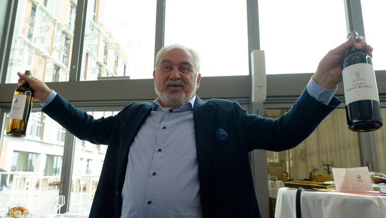 Fernand Huts is een levensgenieter. Op deze foto viert hij feest naar aanleiding van 160 jaar Katoen Natie, in 2015. Beeld Photo News
