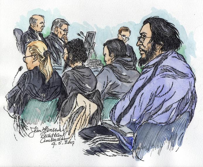 Rechtbanktekening van verdachten in de Hofstadgroepzaak.