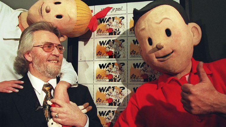 Suske en Wiske samen met hun tekenaar Paul Geerts, in 1997. © ANP Beeld