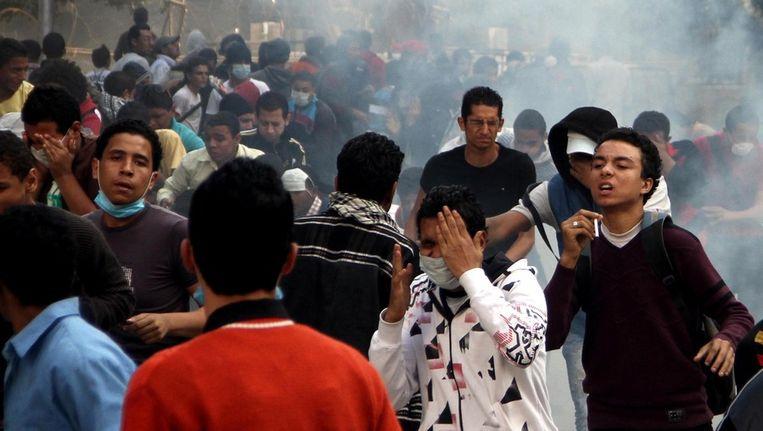Protesten op het Tahrirplein in Caïro op zondag Beeld ap