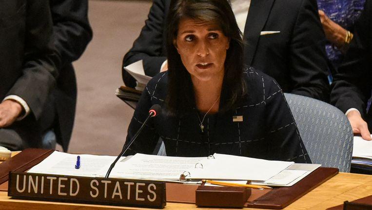 De Amerikaanse VN-ambassadeur Nikki Haley stelde eerder al strenge sancties voor Noord-Korea voor. Beeld reuters