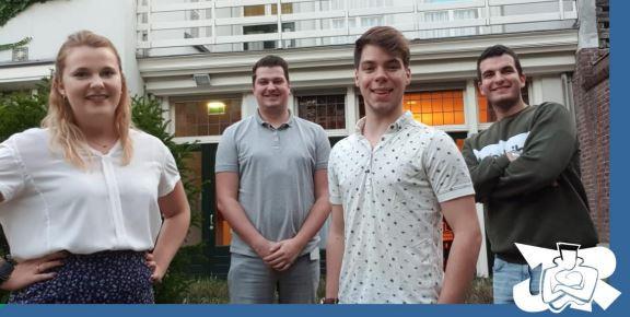 Van links naar rechts de inmiddels vertrokken Joyce Rommens en Björn Rommens, voorzitter Sebastiaan Waegemaekers en penningmeester Cekwara Yildiz.