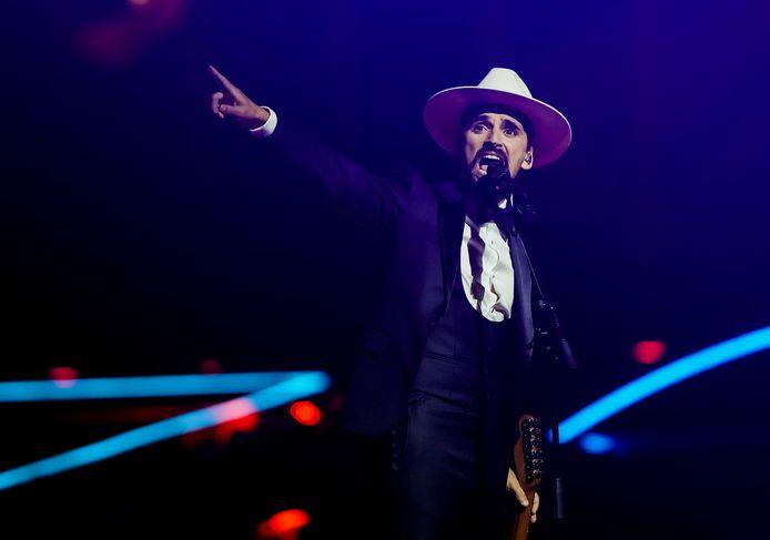 The Black Mamba uit Portugal met het nummer Love Is On My Side tijdens de finale van het Eurovisie Songfestival 2021.