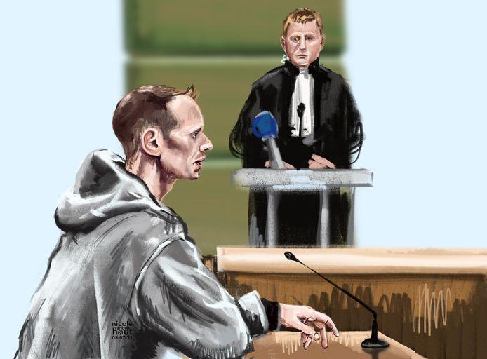 Floris N. tijdens het proces op 5 juli.