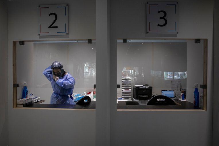 Een testfaciliteit op Schiphol.  Beeld Getty Images