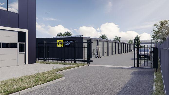 Artist impression van het nieuw te bouwen garagepark in Etten-Leur.