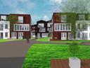 Impressie van het groene hart van het zorgwoningencomplex dat aan de Raadhuisstraat in Hoogerheide moet gaan verrijzen.