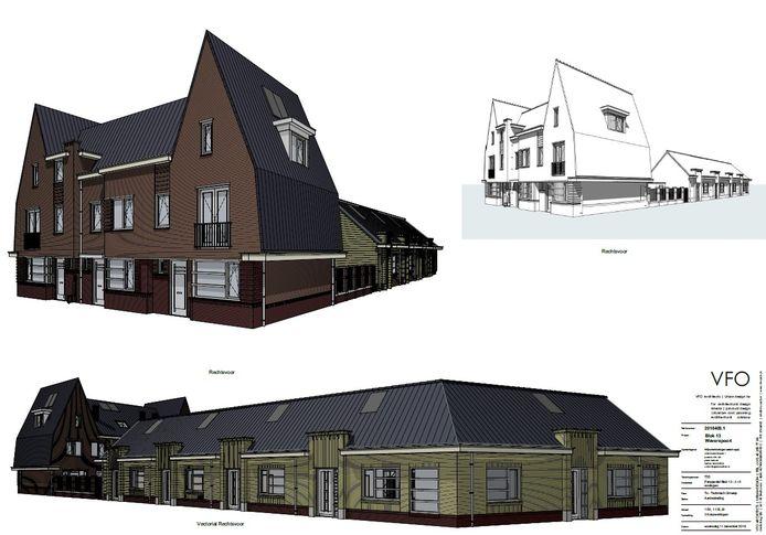 Impressies van het project Parkvlinder met drie koopwoningen en vijf seniorenwoningen bij het Weverspark in de Helmondse binnenstad.