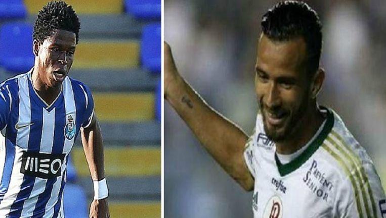 Mikel Agu (l) en Leandro 'Banana' Pereira. Beeld kos