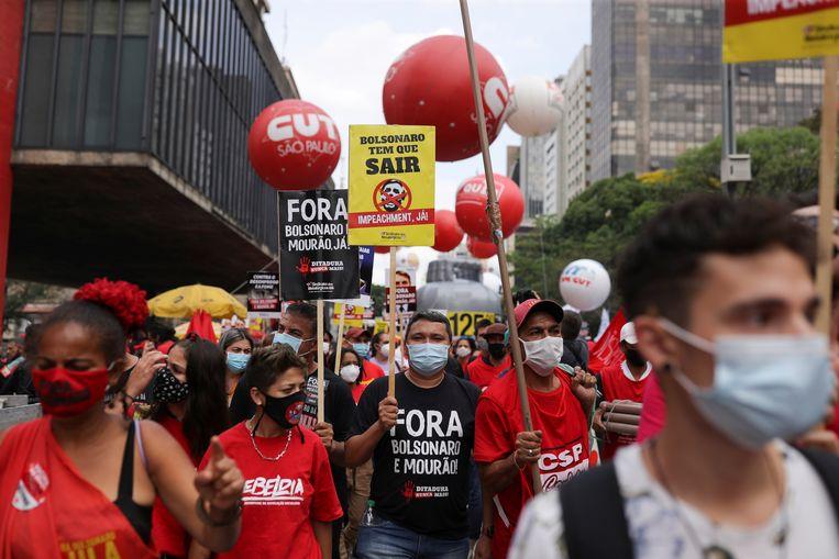 Demonstranten in São Paulo. Beeld REUTERS