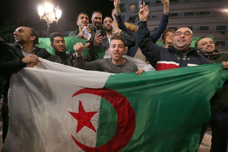 Ondanks het vertrek van Bouteflika, gaat het protest in Algerije gewoon voort.  Beeld Photo News