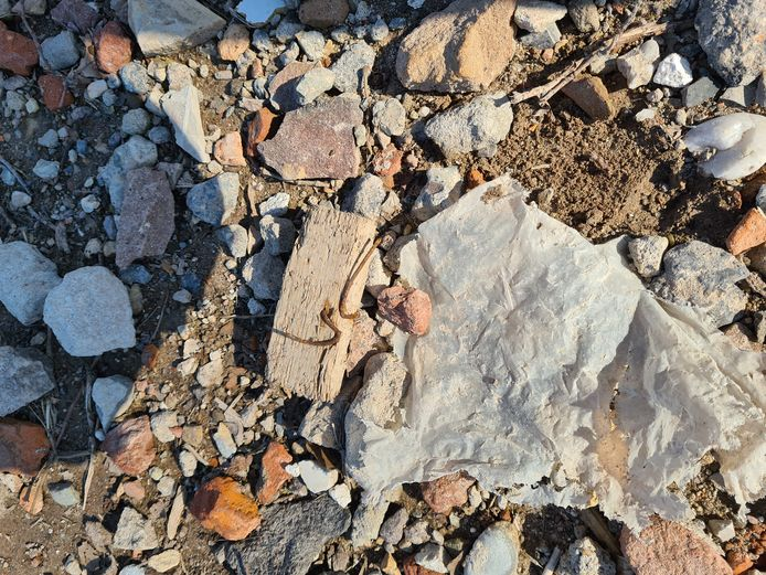 Plastic, hout, spijkers; het zit allemaal in de grond die is gestort op de Kasteellaan in Drunen.