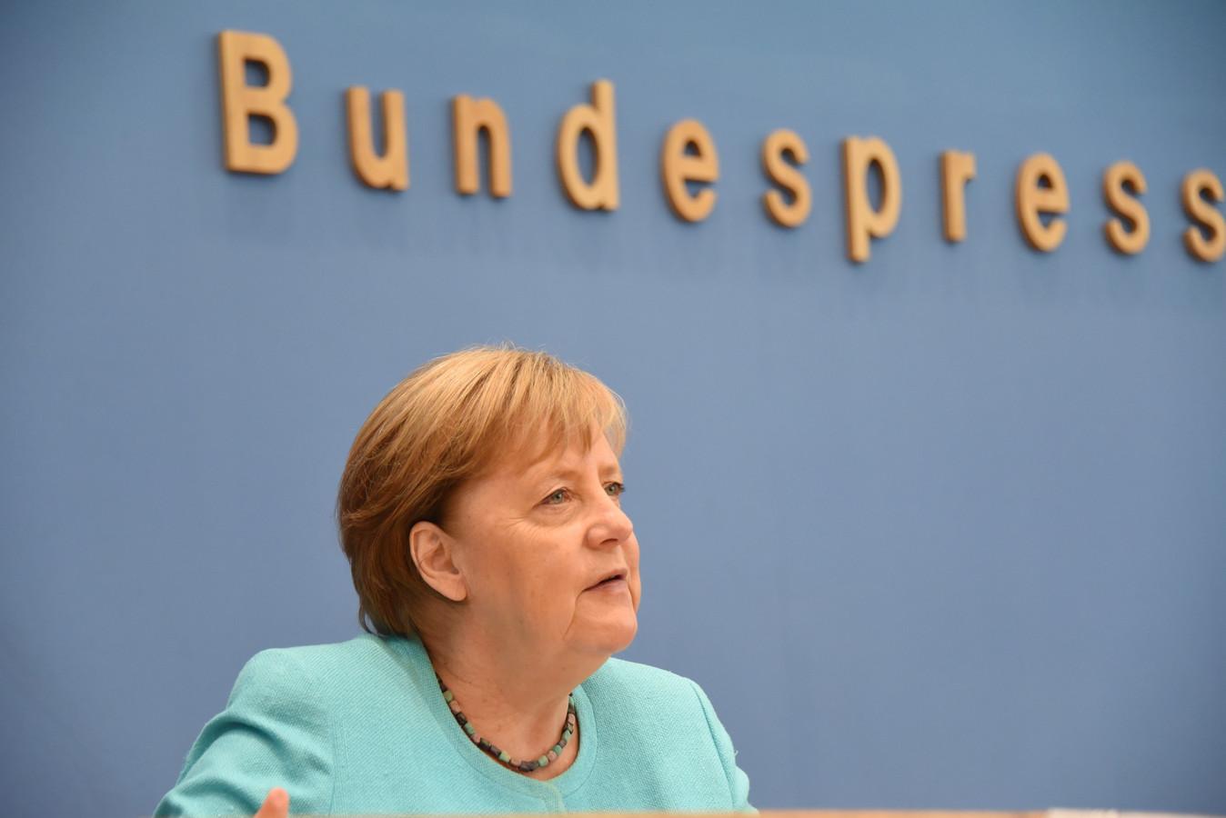 Bondskanselier Angela Merkel tijdens haar laatste jaarlijkse zomerpersconferentie, in Berlijn.