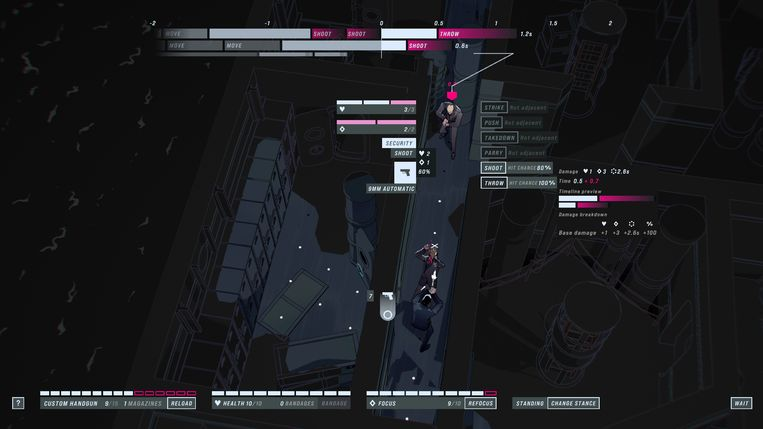 De supersnelle actie uit de films werd door gamedesigner Mike Bithell gedeconstrueerd tot een soort tactische game. Beeld Good Shepherd Entertainment