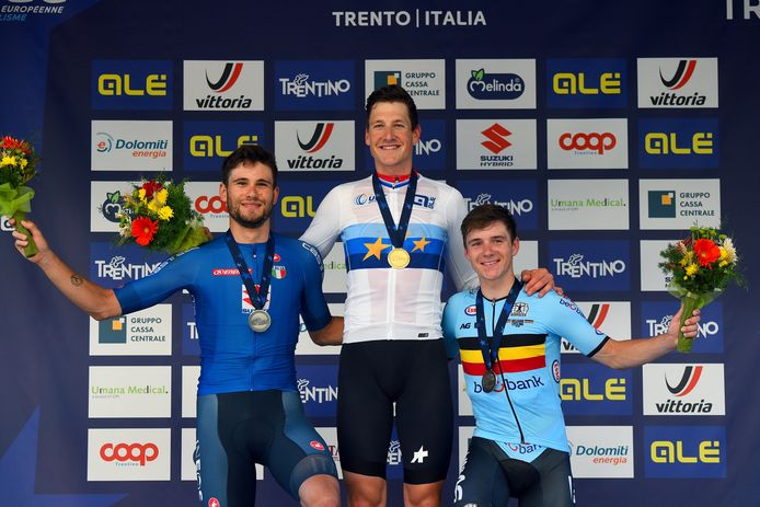 Filippo Ganna, Stefan Küng en Remco Evenepoel.