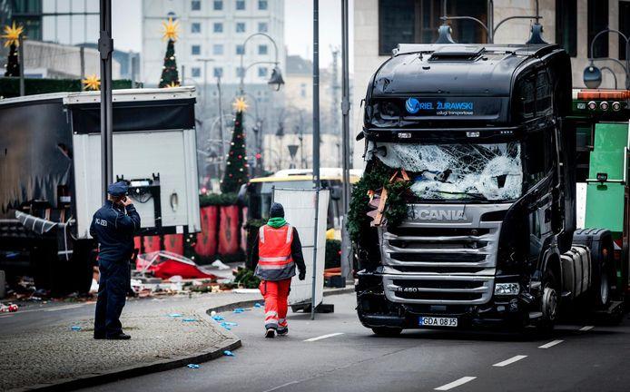 De vrachtwagen die werd gebruikt bij de aanslag op een kerstmarkt in Berlijn in december 2016.