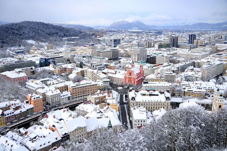 Vanaf het kasteel in de bergen heb je een prachtig zicht op de hoofdstad Ljubljana. Beeld rv