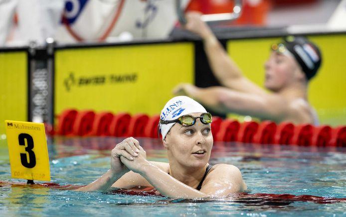 Sharon van Rouwendaal tijdens de finale op de 200m rugslag in de Eindhoven Qualification Meet.