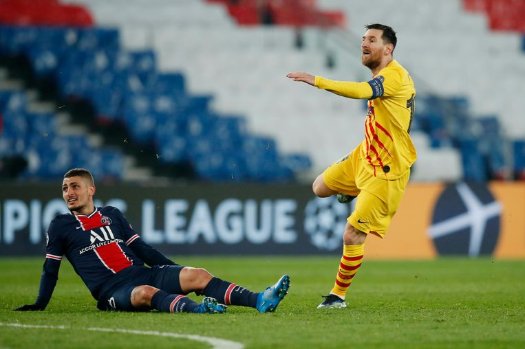 Lionel Messi maakt het eerste doelpunt voor  FC Barcelona. Beeld REUTERS