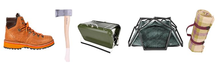 Vanaf links: 'Ash'-wandelschoenen, 'Splitting Ax', 'Koffer'-barbecue, 'The Cave'-tent, wollen picknickkleed. Beeld