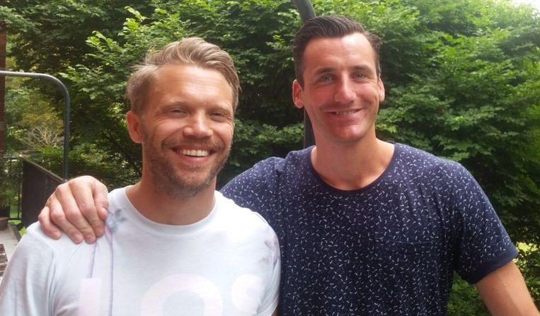 Michiel Döbelman (links) en zijn compagnon Bob Wisman organiseren het eerste springkussenfestival voor volwassenen. Beeld Eigen foto
