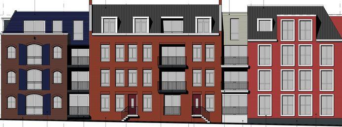 Nieuwbouw op locatie Wapen van Bemmel, aanzicht vanaf de Loostraat