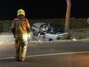 Van de auto bleef na de crash in Nijkerk amper meer wat over.