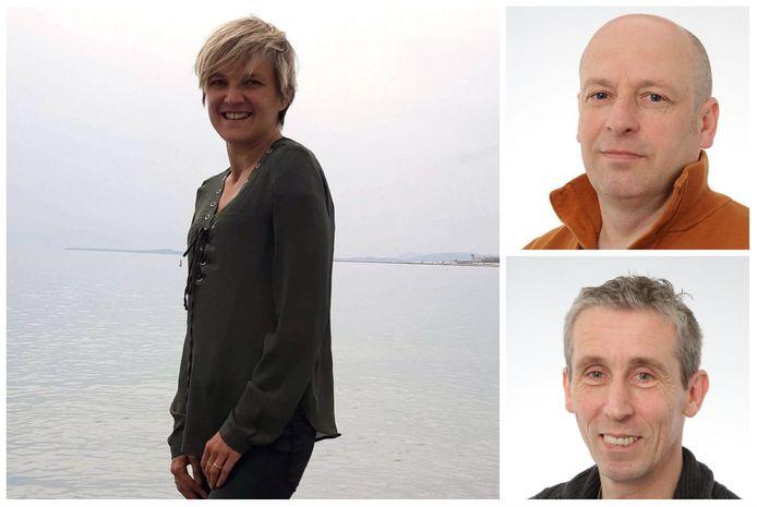 Muco-patiënte Birgit Ververken (36) en transplantatiecoördinatoren Dirk Claes en Bruno Desschans.