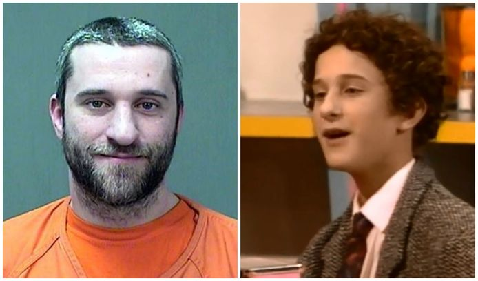 De arrestatiefoto van acteur Dustin Diamond. Rechts: Dustin als 'Screech' in Saved By The Bell.