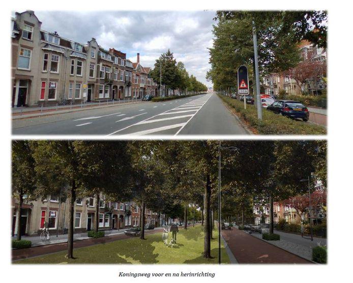 Een impressie van de Koningsweg, voor en na een herinrichting