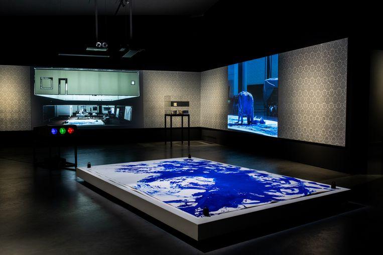 Kamer gewijd aan Kreten en Gefluister (1972) van Ingmar Bergman, met op de voorgrond body-actionpainting geïnspireerd door Yves Klein. Door TGA in 2009 op toneel gebracht. Beeld Nosh Neneh