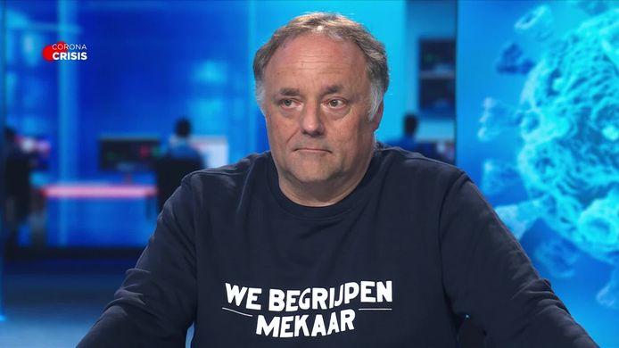 Viroloog Marc Van Ranst in VTM Nieuws.