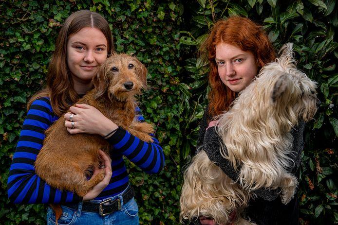 Naomi Willems (links) met hondje Shanty en Lisanne Paulus met hondje Brum. Beiden zijn psychiatrisch patiënt en een crowdfundingactie begonnen voor een psychosociale hulphond