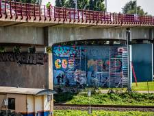 Graffitifeest zonder publiek onder Zwijndrechtse Brug