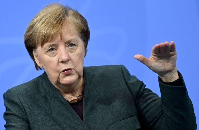 Angela Merkel tijdens een persconferentie op 19 januari