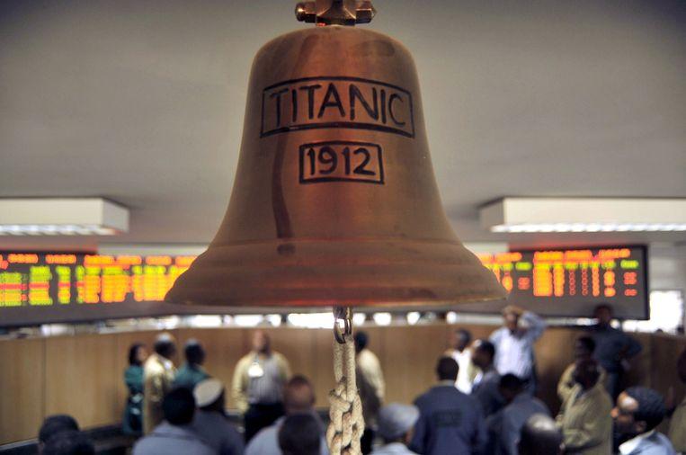 De bel die de beursdag opent op de Ethiopian Commodities Exchange (ECX) in hoofdstad Addis Abeba. Beeld AFP