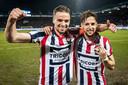 Ben Rienstra (twee goals) en Fran Sol (drie goals): de grote mannen tijdens de 5-0 zege op PSV.
