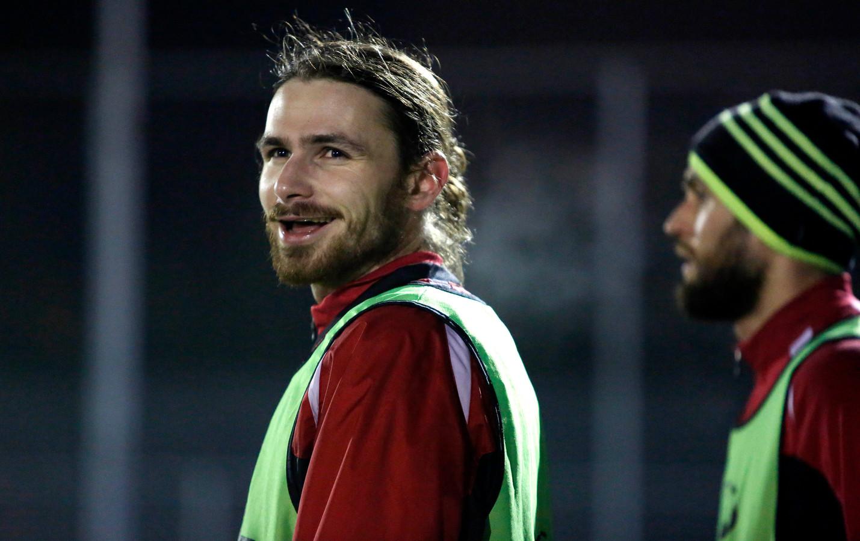 Pim Bouwman, hier tijdens de training bij Cappellen, speelt komend seizoen weer op Cyprus.