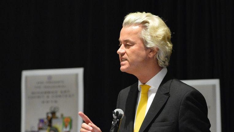 PVV-leider Geert Wilders tijdens zijn toespraak in Garland. Beeld epa