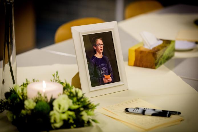 Herdenkingsplek voor overleden Adri Kerkhofs op Pius X College in Bladel.