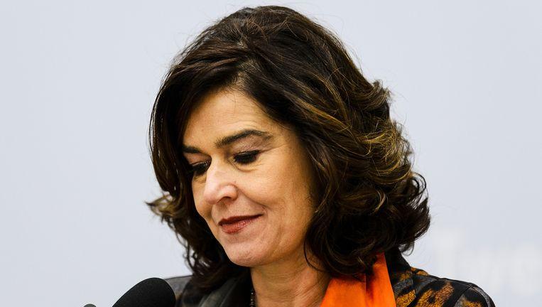 Anouchka van Miltenburg tijdens de persconferentie zaterdagmiddag. Beeld ANP