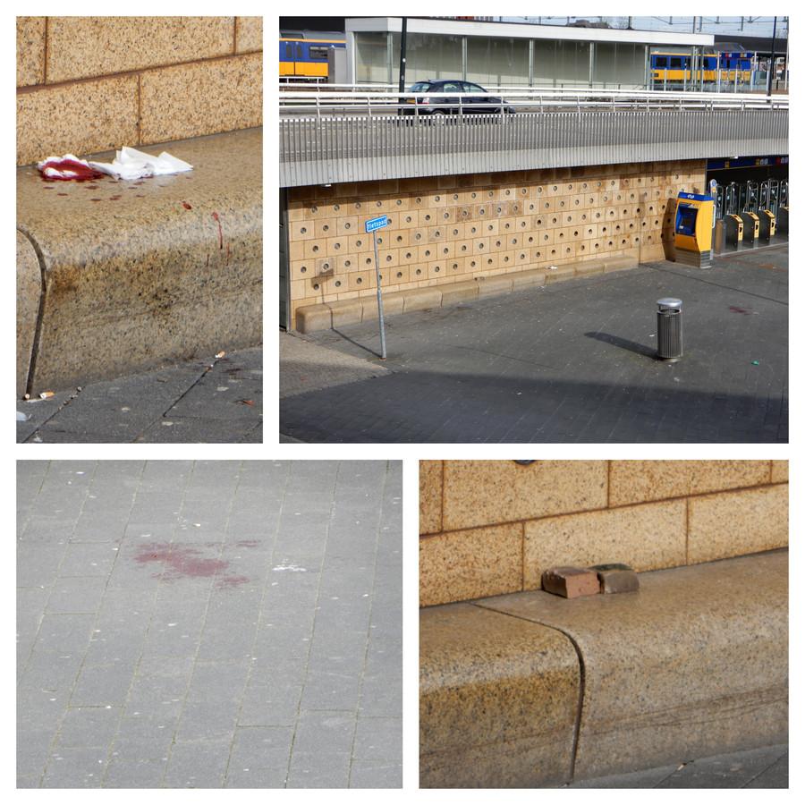 Rechtsboven: de plek waar de 25-jarige man werd geraakt door de baksteen die vanaf de plek boven hem op zijn hoofd werd gegooid. Linksboven: de bebloede doek waarmee hij werd behandeld. Linksonder: het opgedroogde plasje bloed. Rechtsonder: de gebroken baksteen.