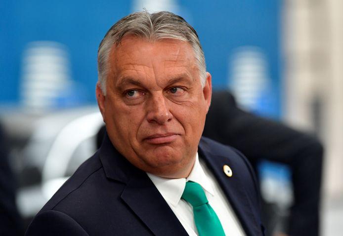 Hongaarse premier Viktor Orbán op de EU-top vandaag.