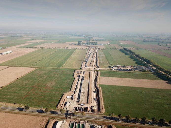 Aanleg A15 bij Duiven per drone in oktober vorig jaar.