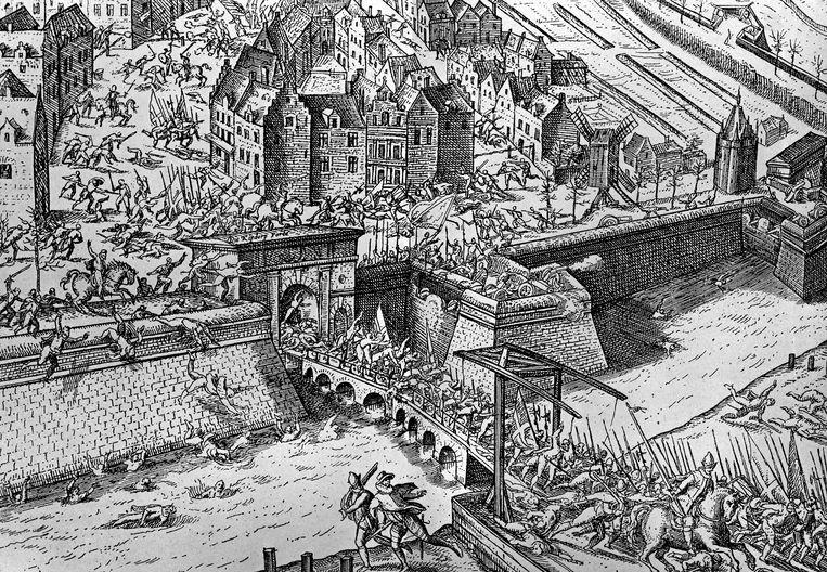 De val van Antwerpen, 1585. Beeld De Agostini via Getty Images
